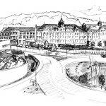 Das Bild ist eine Bleistiftzeichnung und zeigt den Aesculap-Platz in Tuttlingen, gezeichet wurde das Bild von der Künstlerin Elisabeth Mack-Dronia im Jahr 2018.