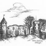 Das Bild zeigt eine Federstrichzeichnung schwarzweiß von der Künstlerin Gudrun Reich aus Tuttlingen, das 2004 gezeichnet wurde. Auf dem Bild sieht man die Ruine Honberg in Tuttlingen.