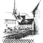 Die schwarzweiße Federstrichzeichnung von Kurt Haupt zeigt die Stadtpfarrkirche St. Peter und Paul in Spaichingen.