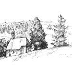 Die Federstrichzeichnung zeigt den Witthoh bei Tuttlingen im Jahr 1977 gezeichnet von Kurt Haupt.