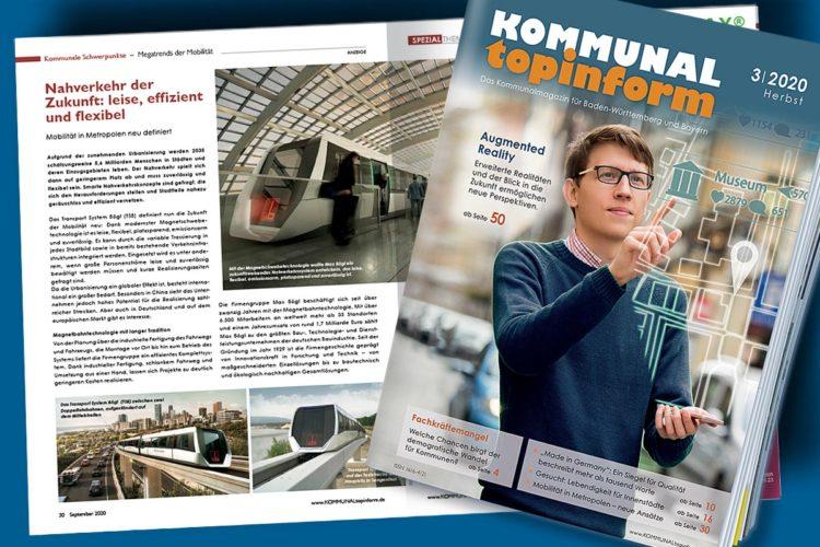 Titelseite der Septemberausgabe 2020 von KOMMUNALtopinform + die aufgeschlagene Heftmitte einer zweiten Magazinausgabe.