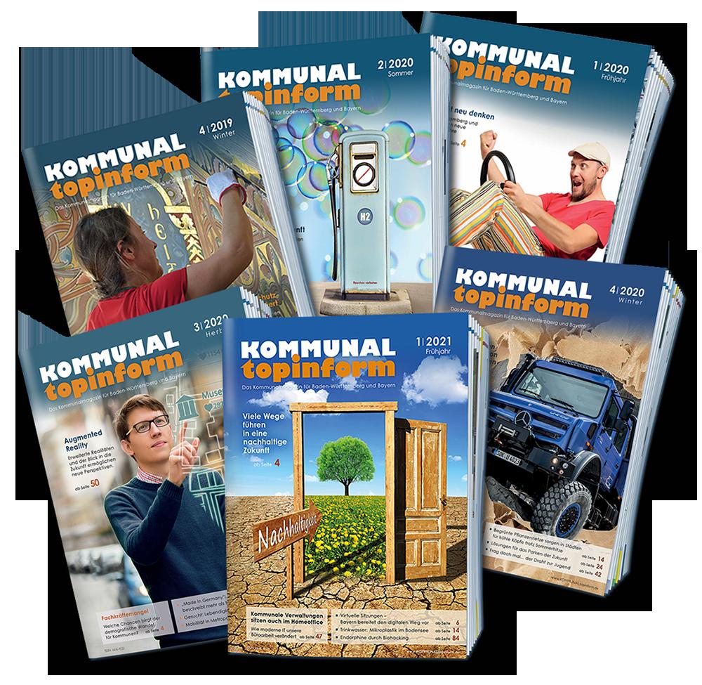 Unterschiedliche Titelbilder von KOMMUNALtopinform. Das Kommunalmagazin für Baden-Württemberg und Bayern, lesen was Kommunen interessiert!
